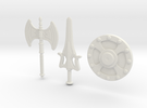 He-Man Weapons Bundle scaled for Minimates in White Strong & Flexible
