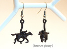 Horse Earrings in Polished Nickel Steel