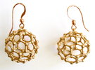 C60 Buckyball earrings in Raw Bronze