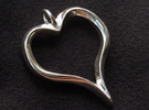 Twisted Heart pendant in Polished Silver