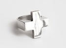 Plus Ring   in Polished Silver