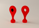 Google Maps Marker - Magnet 1 in Red Strong & Flexible Polished