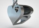 Heart Pendant Letter in Polished Nickel Steel