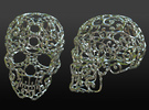 Large Carved Skull - Plastic/Stone/Metal 9.38cm in Polished Gold Steel