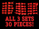 All 3 Sets in Red Strong & Flexible Polished