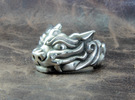 "Fu Dog (Komainu) ""um"" Ring in Polished Silver"