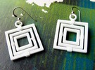 Square Gyroscope earings in White Strong & Flexible Polished