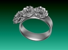 Tiny 3 Rose ring (plastic print only - no silver) in White Strong & Flexible Polished