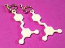 Resveratrol Red Wine Molecule Earrings in White Strong & Flexible Polished