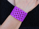 Circles & Squares Cuff (Size L)  in Purple Strong & Flexible Polished