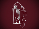 Horned Wyvern Skeleton with Hanging Perch in White Strong & Flexible