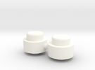 Adjustment Buttons - Plastic in White Strong & Flexible Polished