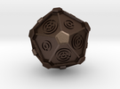 Gallifreyan D20 (28mm) in Matte Bronze Steel