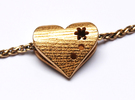Personalized Golden Heart pendant in Polished Gold Steel