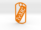 Toxic dog tag in Orange Strong & Flexible Polished