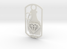 Diamond grenade dog tag in White Strong & Flexible