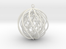 Suspended Icosahedron Ornament in White Strong & Flexible