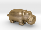 3000 BC Hippo Small Pendant in Polished Gold Steel