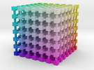 RGB Color Cube: 3.5 inch in Full Color Sandstone