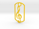 Treble clef dog tag in Yellow Strong & Flexible Polished