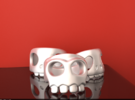 Crimson Skull 10¼ in Polished Silver