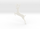 Reindeer Jumping Ornament in White Strong & Flexible Polished