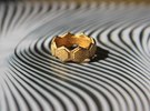 Seeds of life ring in Matte Gold Steel