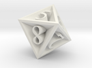 8 Sided Die in White Strong & Flexible