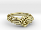 Ring with a rose on a branch in 18k Gold Plated