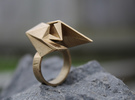 Spaceship Ring v2 Size 7 in Raw Brass