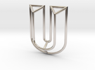 U Pendant in Rhodium Plated
