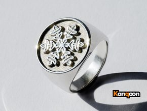 Snowflake - Signet Ring - US 9 - 19 mm inside in Polished Silver