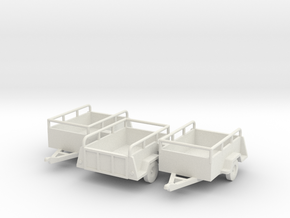 Open Cargo Trailers- Old U-haul style X3 HO 1/87  in White Strong & Flexible