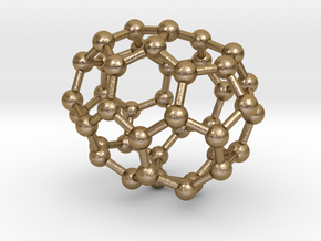 0244 Fullerene C42-23 c2 in Polished Gold Steel