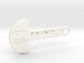 Loonie Shopping Cart Key in White Strong & Flexible Polished
