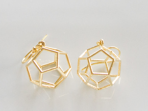 Dodecahedron Earrings in Raw Brass