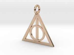 Deathly Hallows Triangle Pendant in 14k Rose Gold Plated