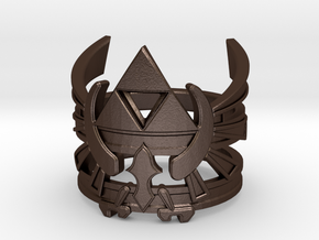 Triforce ring - Zelda - medium sizes (15 to 22) in Matte Bronze Steel