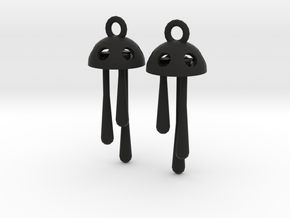 Three Short Drops Earrings in Black Strong & Flexible