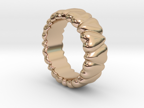Ring Heart To Heart 15 - Italian Size 15 in 14k Rose Gold Plated