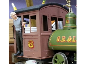 Cab for an 0-4-0 Baldwin in 1:20.32 scale.  in White Strong & Flexible