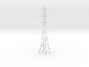 Powerline tower01. HO Scale (1:87) in White Strong & Flexible