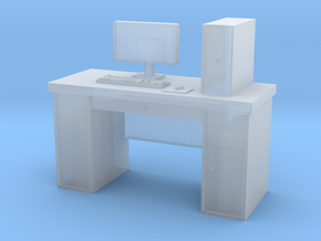 HO scale PC with desk in Frosted Extreme Detail