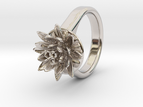Lotus Ring For Diamond 6 Mm Fit Ø21 Mm in Rhodium Plated