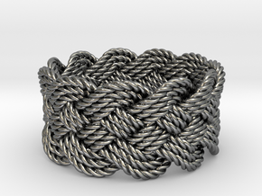 Nautical Turk's Head Knot Ring - Size 13 in Premium Silver