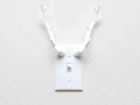 Antler Light Switch Plate Cover in White Strong & Flexible