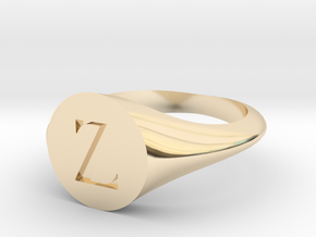Letter Z - Signet Ring Size 6 in 14k Gold Plated