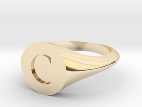 Letter C - Signet Ring Size 6 in 14k Gold Plated