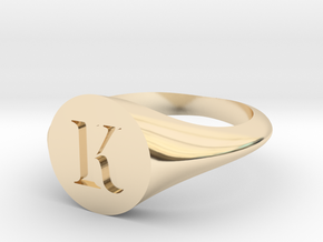 Letter K - Signet Ring Size 6 in 14k Gold Plated