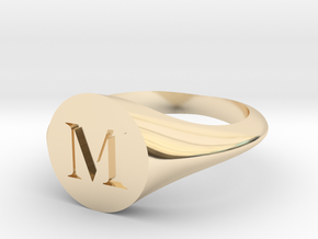 Letter M - Signet Ring Size 6 in 14k Gold Plated